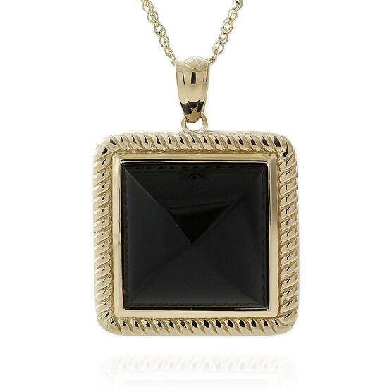 Black Onyx Pyramid Rope Bezel Pendant 14K