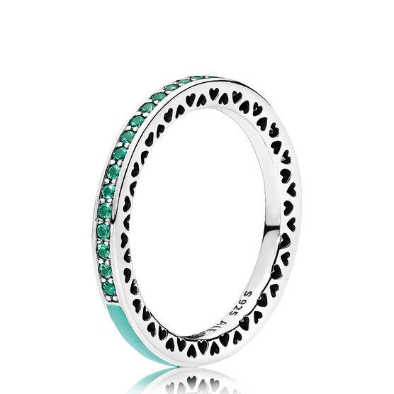 Radiant Hearts of PANDORA Ring, Mint Enamel & Crystals