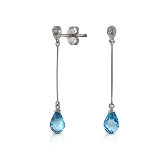 Blue Topaz & Diamond Drop Earrings 14K