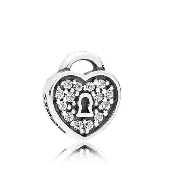 PANDORA Petite Element CZ Heart Padlock Charm
