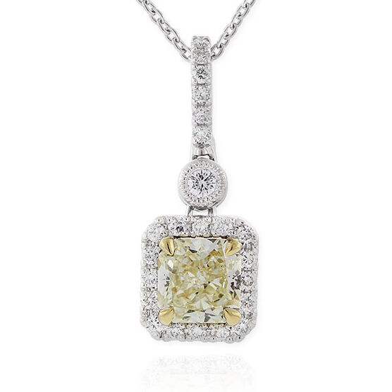 Radiant Cut Yellow Diamond Halo Pendant .71 Ct. Center, 18K