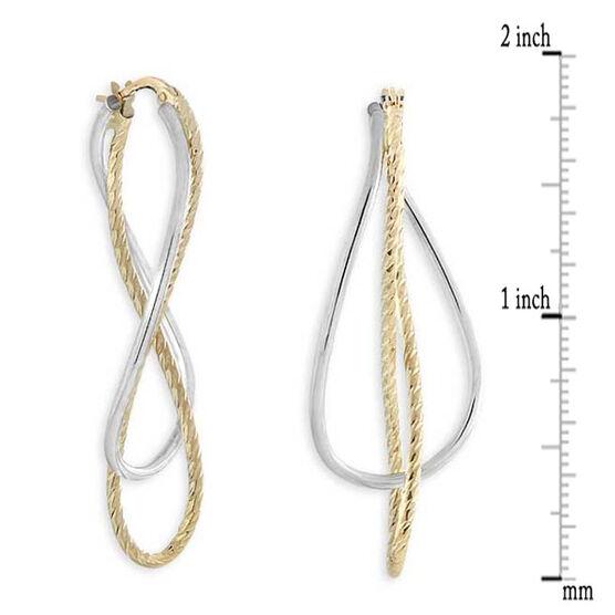 Twisted Interlocking Hoop Earrings 14K