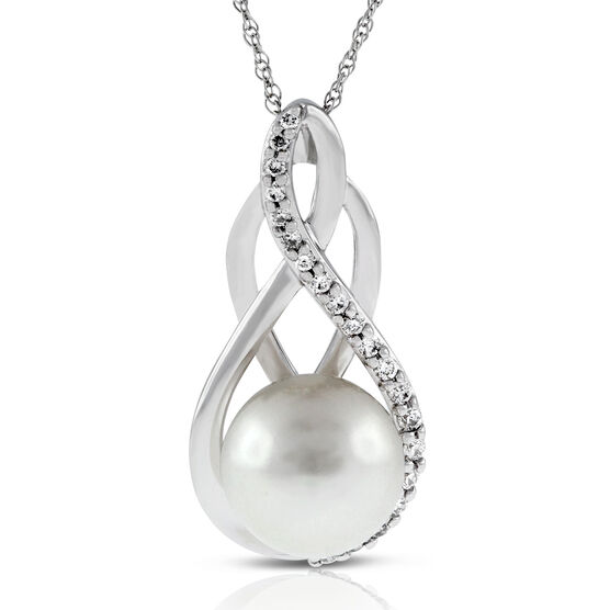 Freshwater Cultured Pearl & Diamond Pendant 14K