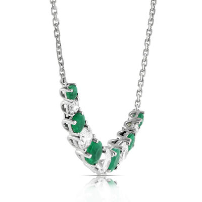 Emerald & Diamond Necklace 14K