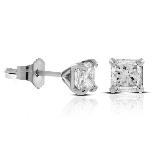 Ikuma Canadian Princess Cut  Diamond Earrings 14K, 1ctw.