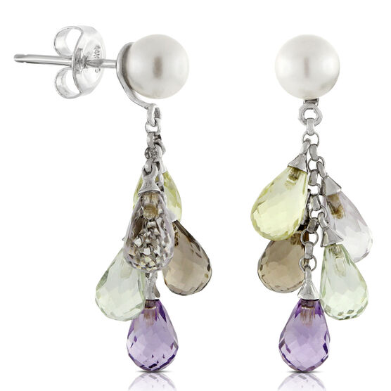 Freshwater Cultured Pearl & Gemstone Earrings 14K