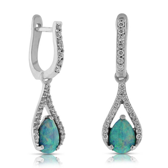 Opal & Diamond Earrings 14K
