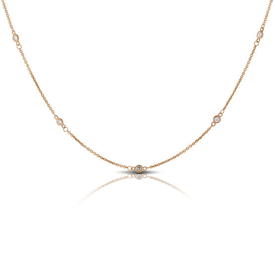 Rose Gold Diamond Station Necklace 14K