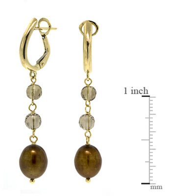 Smoky Quartz & Dyed Freshwater Cultured Pearl Earrings 14K
