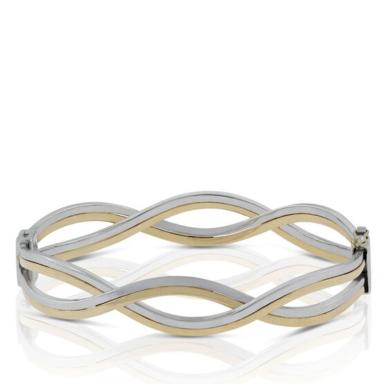 Toscano Collection Two-tone Wave Bangle Bracelet 18K