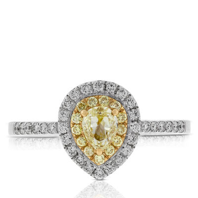 Pear Shape Yellow Diamond Halo Ring 14K