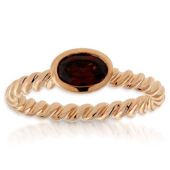 Garnet Stackable Ring 14K