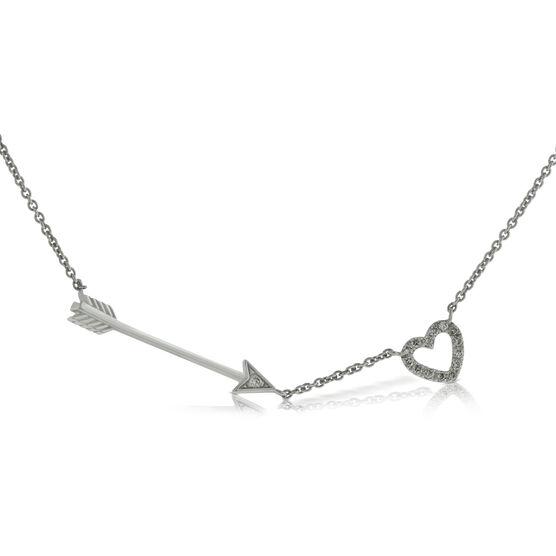 Heart & Arrow Diamond Necklace 14K