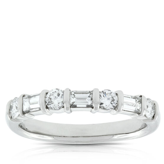 Baguette & Round Diamond Ring, 3/4 Carat in Platinum