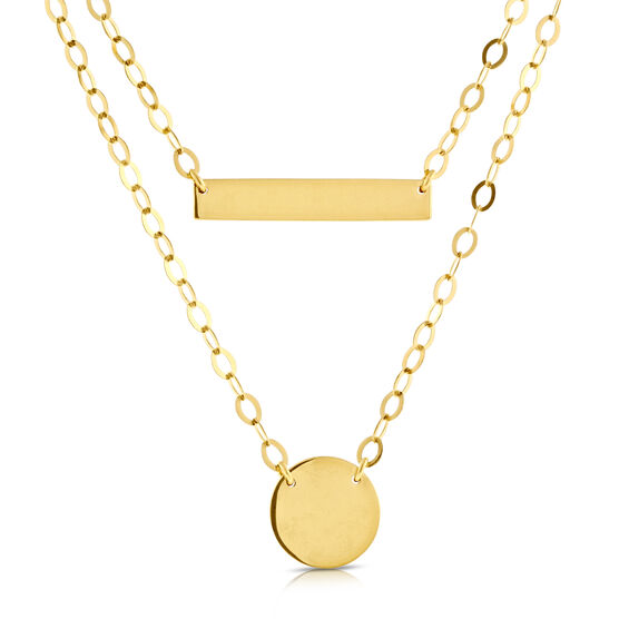 Duet Bar Disc Necklace 14K