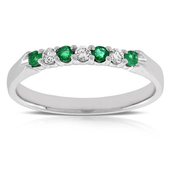 Delicate Emerald & Diamond Ring 14K