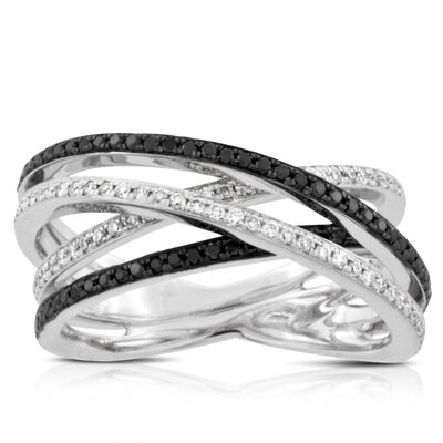 Black & White Diamond Criss-Cross Ring 14K