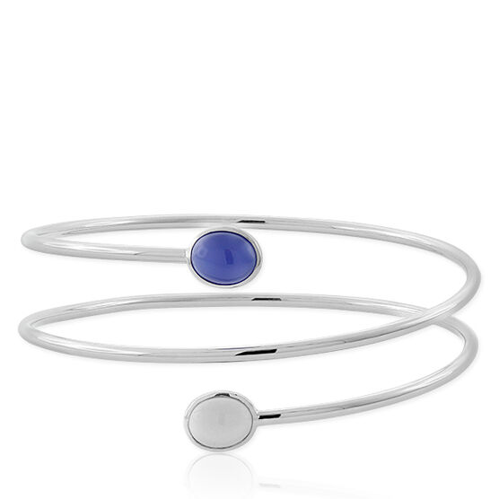 Lisa Bridge Agate & Chalcedony Bypass Bangle
