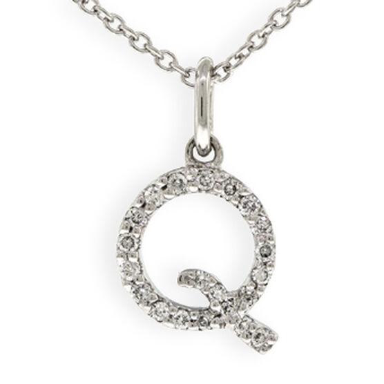 Tiny Initial Diamond Pendant 14K Letter 'Q'