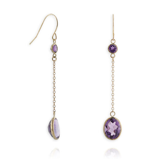 Amethyst Dangle Earrings 14K