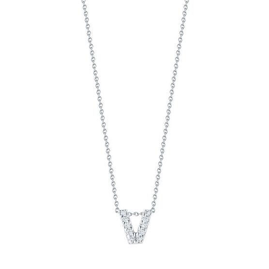 Roberto Coin Diamond Initial Pendant 18K Letter 'V'
