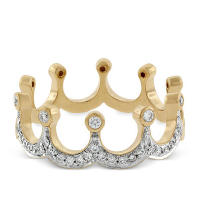 Diamond Crown Ring in Yellow Gold 14K