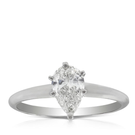 Pear Cut Solitaire Ring 14K, 3/4 ct.