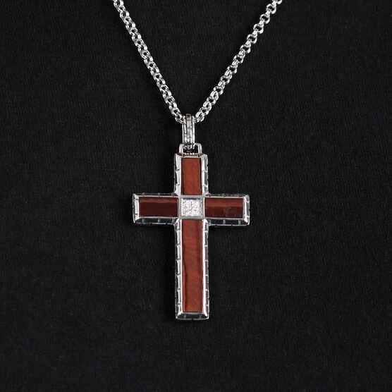 Tiger Eye & Diamond Cross Necklace in Sterling Silver