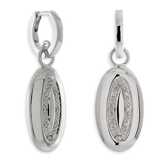 Diamond Oval Disc Dangle Earrings in Sterling Silver