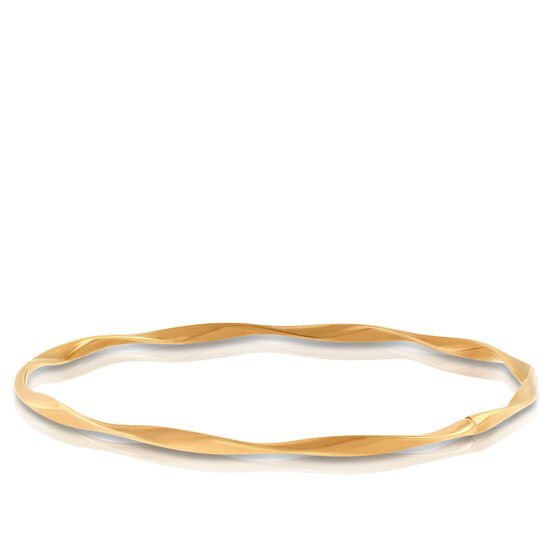 Rose Gold Twisted Bangle Bracelet 14K