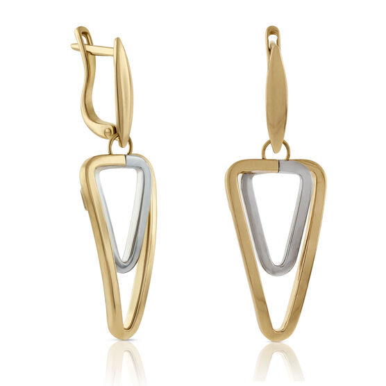 Toscano Double Link Triangle Earrings 18K