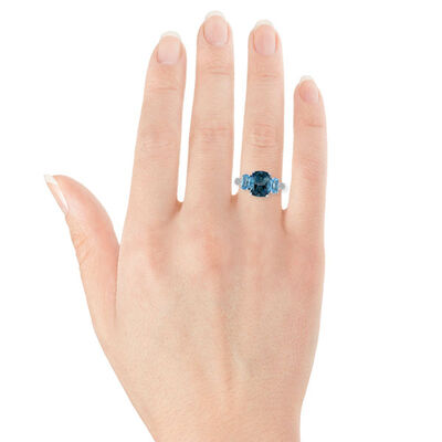 Blue Topaz & Diamond Three-Stone Ring 14K