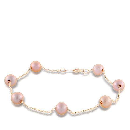 Rose Gold Freshwater Cultured Pearl Bracelet 14K