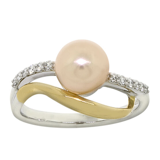 Natural Color Freshwater Cultured Pearl & Diamond Ring 14K