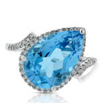 Pear Blue Topaz & Diamond Ring 14K
