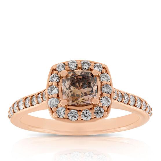 Rose Gold Brown & White Halo Diamond Ring 14K