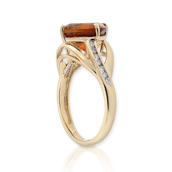 Madeira Citrine & Diamond Ring 14K