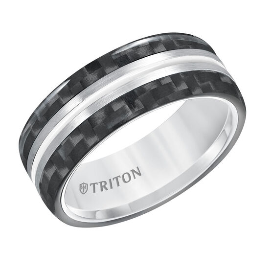 TRITON White Tungsten & Carbon Fiber Band