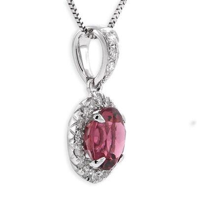 Pink Tourmaline & Diamond Pendant 14K