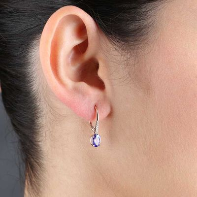 Rose Gold Tanzanite & Diamond Drop Earrings 14K
