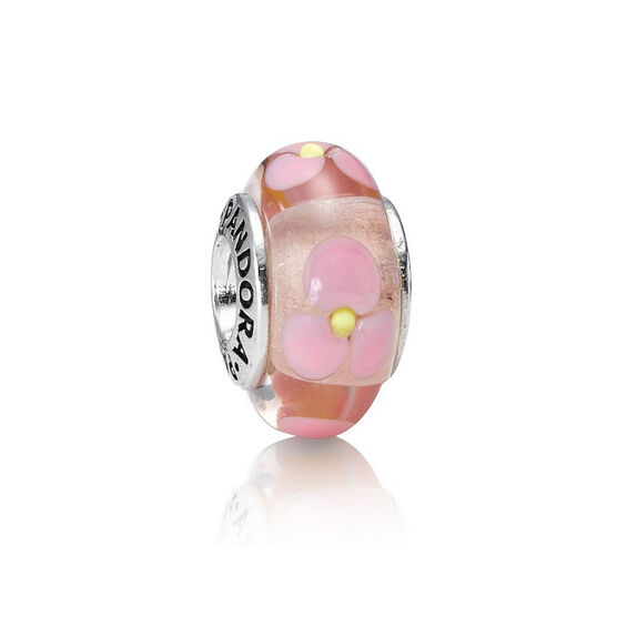 PANDORA Pink Flowers Charm RETIRED