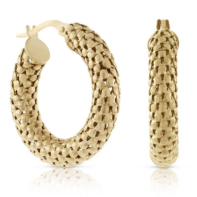 Toscano Collection Faceted Hoop Earrings 18K