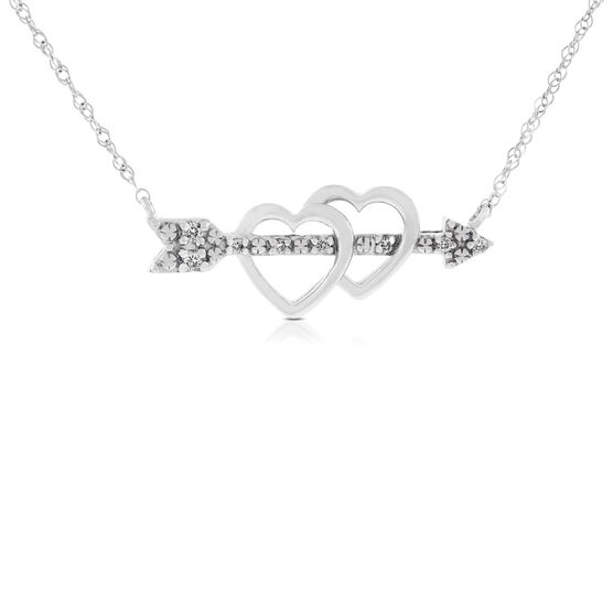 Heart with Arrow Diamond Necklace 14K