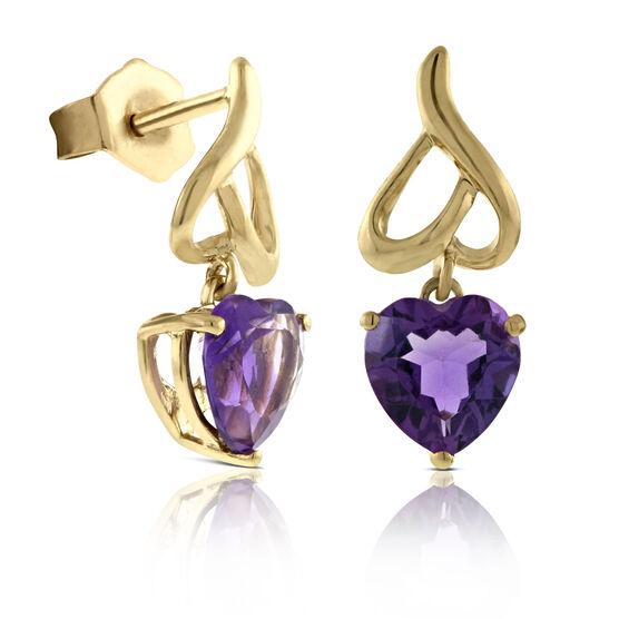 Amethyst Heart Earrings 14K