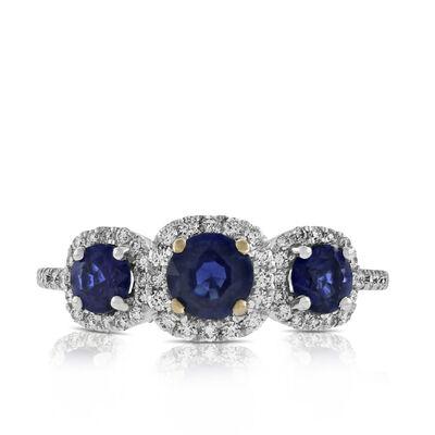 Halo Sapphire & Diamond Ring 14K