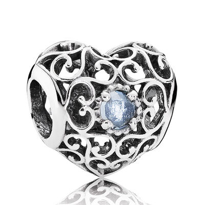 PANDORA March Signature Heart Charm