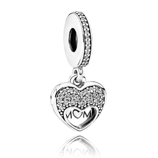 PANDORA I Love My Mom CZ Dangle Charm