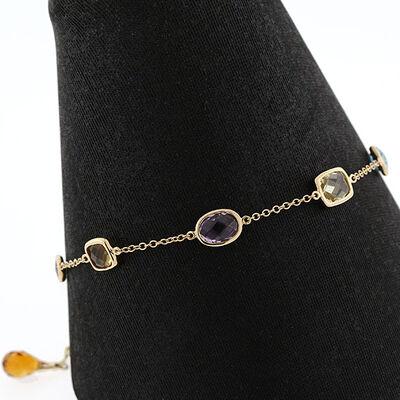 Multi-Gemstone & Diamond Bracelet 14K