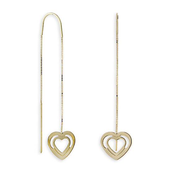 Heart Threader Dangle Earrings 14K