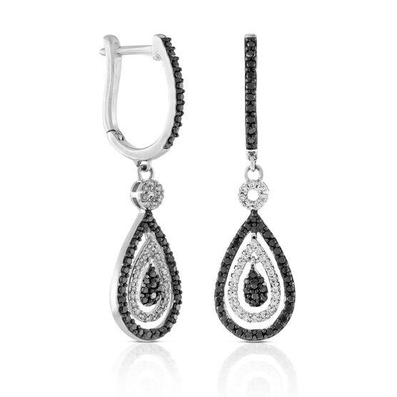 Black & White Diamond Drop Earrings 14K